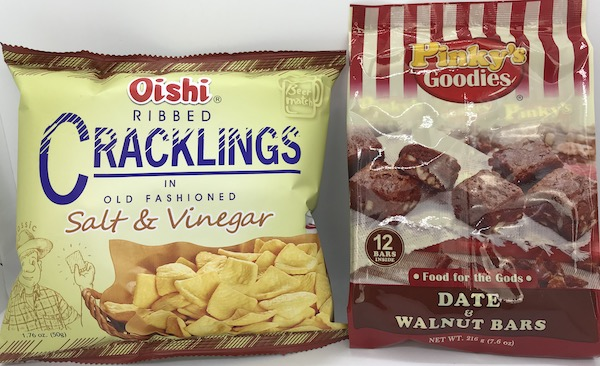 PG Food for the Gods and Oishi Ribbed Cracklings