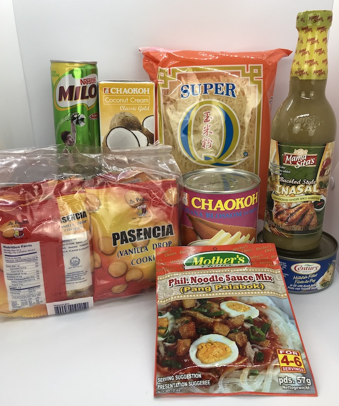 Recently Added: Pasencia Cookies, Palabok Sticks, Palabok Sauce Mix, Bacolod Style Inasal Mix, Banana Blossom, Coconut Cream, Milo Drink, Milkfish